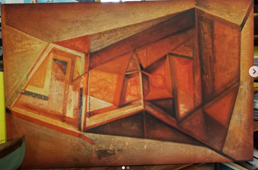 Adolfo Lugli Grande labirinto1990 tecnica mista tavola 150x100